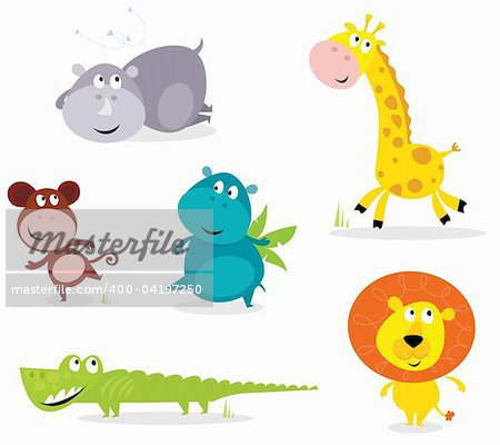 Vector cartoon illustration of six cute safari animals - Giraffe, Hippopotamus, Rhinoceros, Crocodile, Lion and Monkey. Stock Photo - Budget Royalty-Free, Image code: 400-04197250