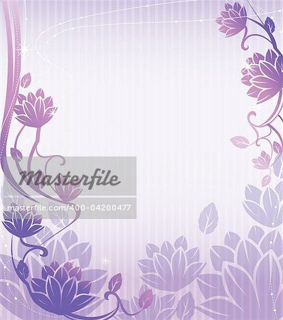 illustration drawing of beautiful purple lotus flower pattern Stock Photo - Budget Royalty-Free, Image code: 400-04200477