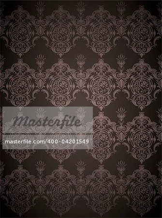 drawing of seamless flower pattern in a black background