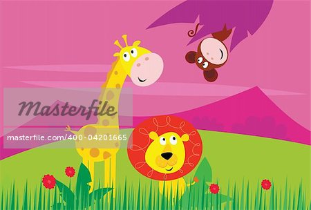 Cute jungle animals - yellow giraffe, funny tigger and little monkey behind palm leaf. Background with mountains and grass in behind animals. Vector Illustration. Stock Photo - Budget Royalty-Free, Image code: 400-04201665
