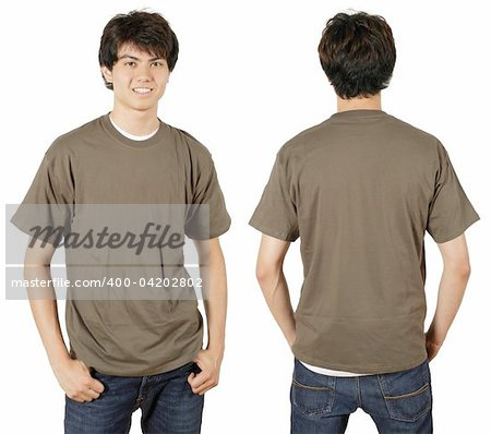 Young male with blank chestnut t-shirt, front and back. Ready for your design or logo. Stock Photo - Budget Royalty-Free, Image code: 400-04202802
