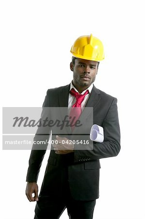 African american architect engineer with yellow hardhat and plans Stock Photo - Budget Royalty-Free, Image code: 400-04205416