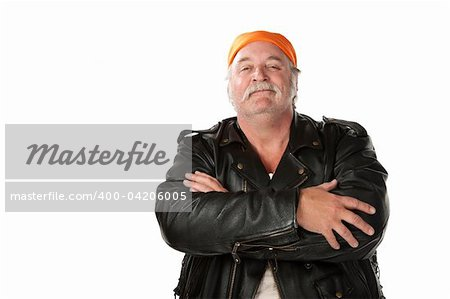 Confident biker gang member with leather jacket Stock Photo - Budget Royalty-Free, Image code: 400-04206005