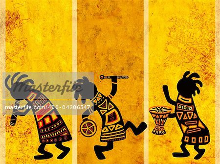 Dancing musicians. African traditional patterns Stock Photo - Budget Royalty-Free, Image code: 400-04206347