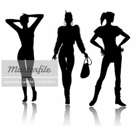 Vector silhouette set of woman Stock Photo - Budget Royalty-Free, Image code: 400-04206451