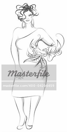 Vector illustration of plus-size model,handrawn,artistic. Stock Photo - Budget Royalty-Free, Image code: 400-04206459