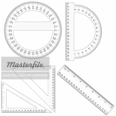 Vector set of different ruler types. Centimeter and inch measurement are at scale. Contains EPS file compatible with Illustrator 10. Stock Photo - Budget Royalty-Free, Image code: 400-04206563