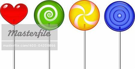 Four lollipop over white. EPS 8, AI, JPEG