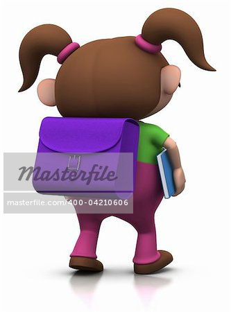 cute brownhaired girl with a satchel on her back and a book under her arm walking to school - 3d rendering/illustration