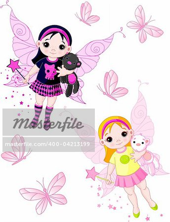 Two cute fairies   blond and brunette, flying with butterflies Stock Photo - Budget Royalty-Free, Image code: 400-04213199