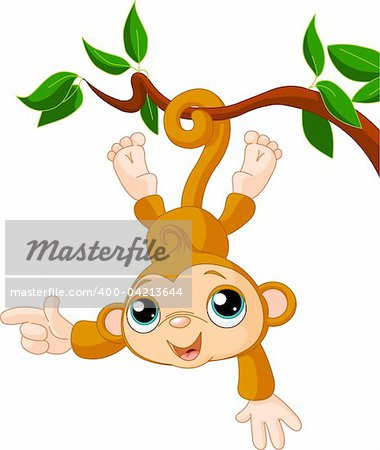 Cute baby monkey on a tree showing (presenting) Stock Photo - Budget Royalty-Free, Image code: 400-04213644