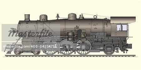 Vector illustration of old locomotive Stock Photo - Budget Royalty-Free, Image code: 400-04214715
