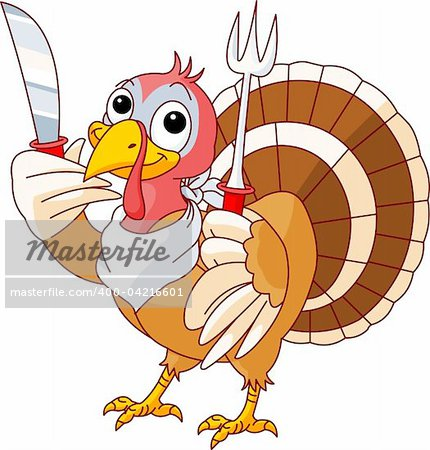 Thanksgiving Turkey with knife and fork. Isolated on a white background. Stock Photo - Budget Royalty-Free, Image code: 400-04216601