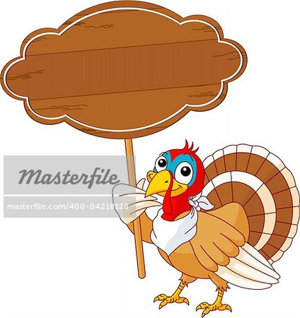Thanksgiving Turkey holding blank sign . Isolated on a white background. Stock Photo - Budget Royalty-Free, Image code: 400-04218128