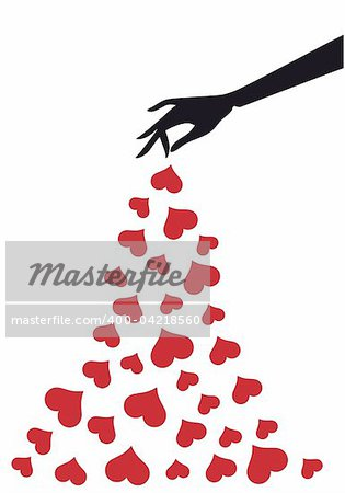 female hand with red hearts, vector