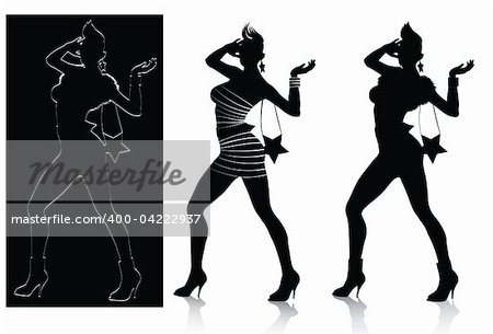 Vector silhouette set of fashion model posing ,all layers separated