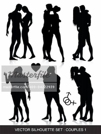 Vector silhouette set of romantic couples Stock Photo - Budget Royalty-Free, Image code: 400-04222939