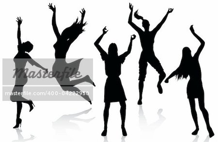 Active women silhouettes isolated on white background