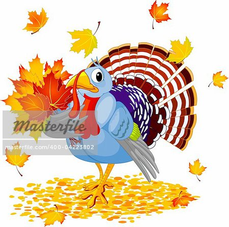 Cartoon Turkey with autumn bouquet, isolated on white background Stock Photo - Budget Royalty-Free, Image code: 400-04223802