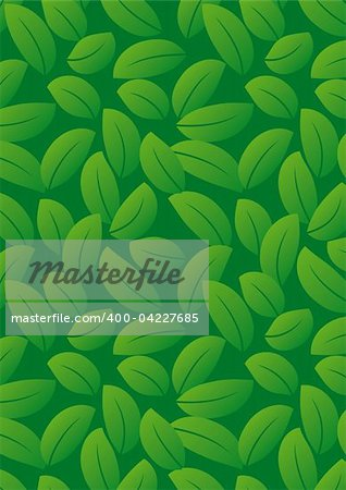 Seamless dark green leaf background - vector include pattern source - easy to modify