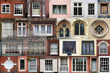 Composite of various styles of windows in the historic city of Norwich, norfolk, england UK england