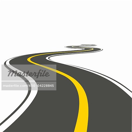 illustration of roadway on isolated background Stock Photo - Budget Royalty-Free, Image code: 400-04228845