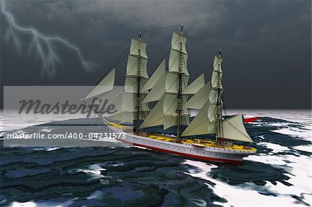 A tall ship glides through rough seas during a thunderstorm. Stock Photo - Budget Royalty-Free, Image code: 400-04231573