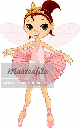 Vector Illustration of Little Cute dancing Fairy Ballerina Stock Photo - Budget Royalty-Free, Image code: 400-04232216