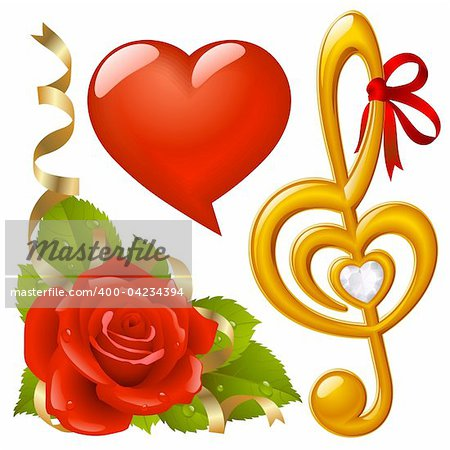 Vector set of Love: corner with red rose, femail lips in the shape of heart and golden Treble clef
