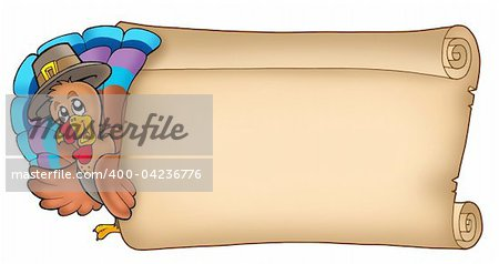 Lurking turkey with old scroll - color illustration. Stock Photo - Budget Royalty-Free, Image code: 400-04236776