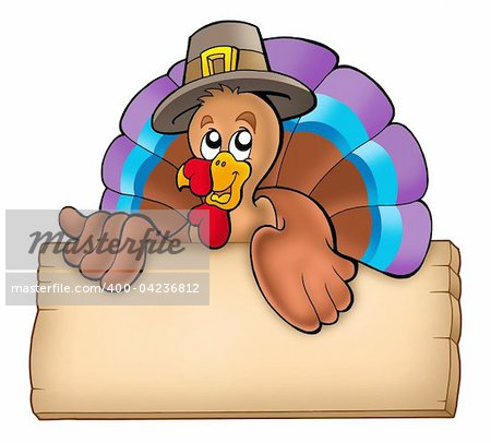 Wooden board with lurking turkey - color illustration. Stock Photo - Budget Royalty-Free, Image code: 400-04236812
