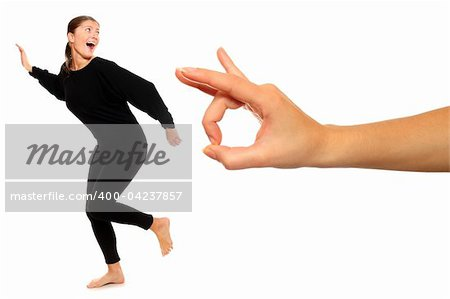 A picture of young woman running away from big hand over white background Stock Photo - Budget Royalty-Free, Image code: 400-04237857