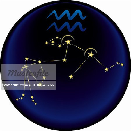 Aquarius constellation plus the Aquarius astrological sign Stock Photo - Budget Royalty-Free, Image code: 400-04240266