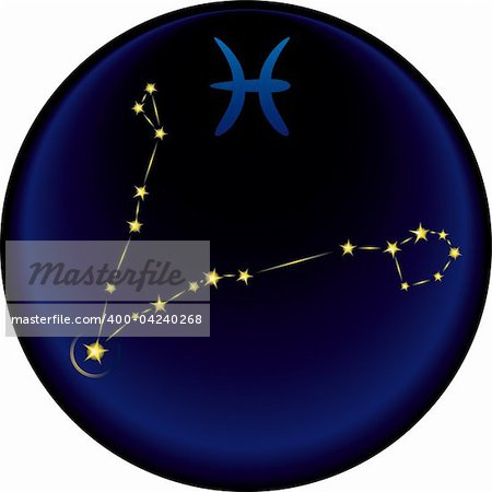 Pisces constellation plus the Pisces astrological sign Stock Photo - Budget Royalty-Free, Image code: 400-04240268