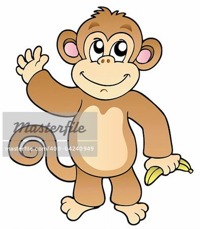 Cartoon waving monkey with banana - vector illustration. Stock Photo - Budget Royalty-Free, Image code: 400-04240949