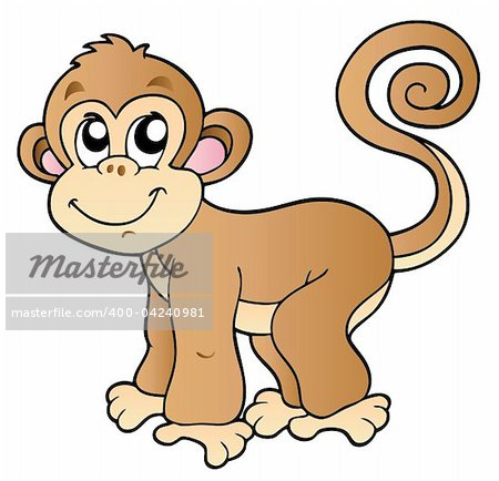 Cute small monkey - vector illustration. Stock Photo - Budget Royalty-Free, Image code: 400-04240981