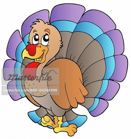 Happy cartoon turkey - vector illustration. Stock Photo - Budget Royalty-Free, Image code: 400-04240998