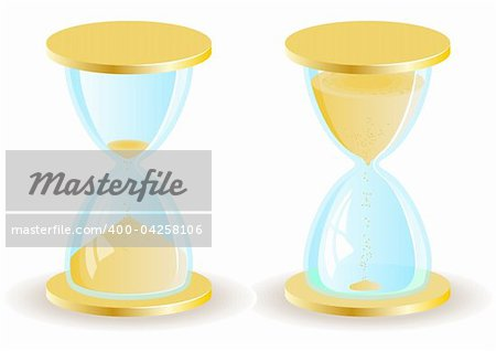 Two vector hourglass or sand clock icons. EPS8 Stock Photo - Budget Royalty-Free, Image code: 400-04258106