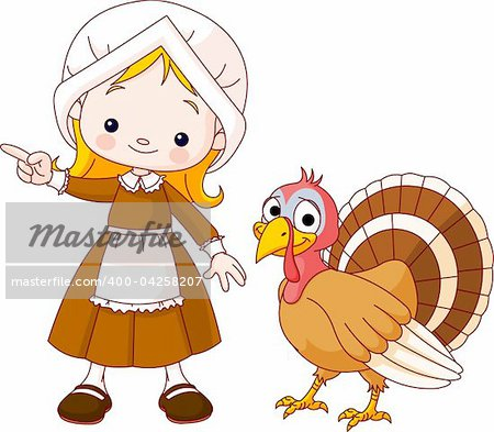 Illustration of Thanksgiving Pilgrim girl pointing and turkey Stock Photo - Budget Royalty-Free, Image code: 400-04258207