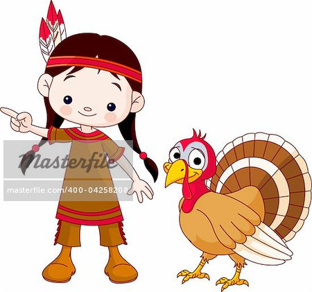 Illustration of Thanksgiving Indian  girl pointing and turkey Stock Photo - Budget Royalty-Free, Image code: 400-04258208