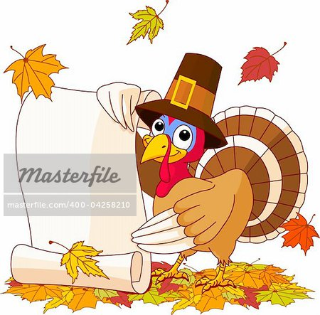 Illustration of Thanksgiving turkey holding scroll. With falling leaves Stock Photo - Budget Royalty-Free, Image code: 400-04258210