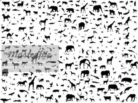 animals mix collection silhouette - vector Stock Photo - Budget Royalty-Free, Image code: 400-04259418
