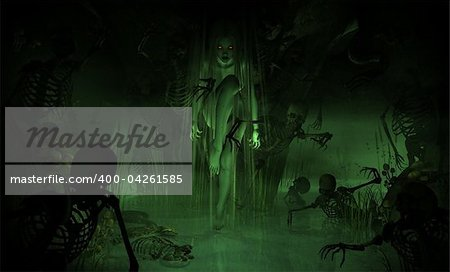3d illustration of a witch in a dark swamp cavern Stock Photo - Budget Royalty-Free, Image code: 400-04261585