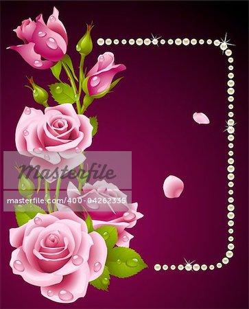 Vector pink rose and pearls frame. Design element.