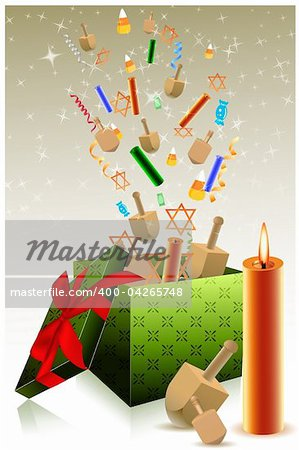 illustration of hanukkah gift box Stock Photo - Budget Royalty-Free, Image code: 400-04265748