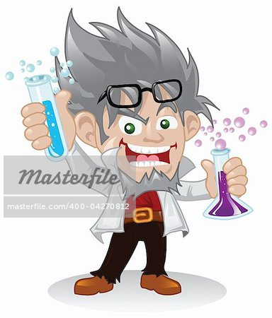 A cartoon mad scientist character