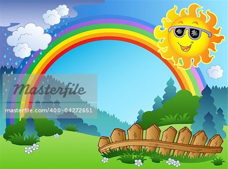 Landscape with rainbow and Sun - vector illustration.