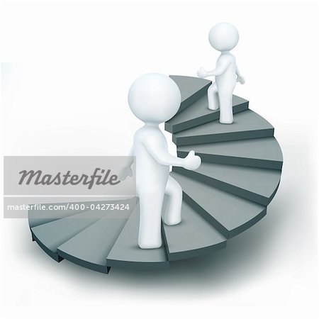illustration of 3d characters climbing steps of success on an isolated white background Stock Photo - Budget Royalty-Free, Image code: 400-04273424