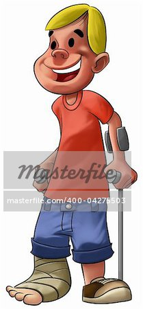 a young and smiley boy with a broken leg Stock Photo - Budget Royalty-Free, Image code: 400-04275503