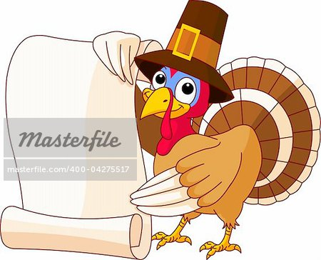 Illustration of Thanksgiving turkey holding scroll Stock Photo - Budget Royalty-Free, Image code: 400-04275517